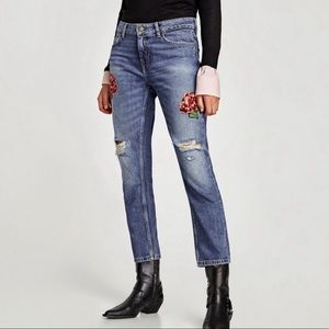 NWT Zara Basic Relaxed Fit Embroidered Jeans